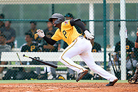 FCL Pirates Gold Rodolfo Nolasco (15) hits a home run during a game against the FCL Pirates Gold on July 2, 2021 at Pirate City in Bradenton, Florida.  (Mike Janes/Four Seam Images)