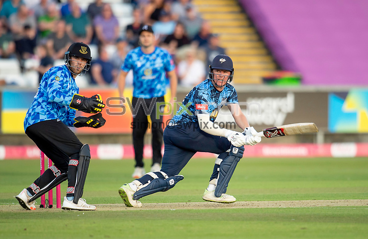 Picture by Allan McKenzie/SWpix.com - 24/08/2021 - Cricket - Vitality Blast Quarter Final - Yorkshire Vikings v Sussex Sharks - Emirates Durham ICG, Chester-le-Street, England - Viking's Gary Ballance hits out against the Sharks on his way to a half century.