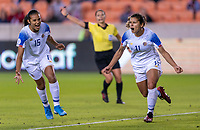 HOUSTON, TX - JANUARY 31: Raquel Rodriguez #11 of Costa Rica celebrates her goal during a game between Haiti and Costa Rica at BBVA Stadium on January 31, 2020 in Houston, Texas.