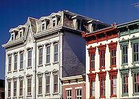 Restored 19th-century buildings in the Main Street business district of Madison, Indiana. Madison Indiana.