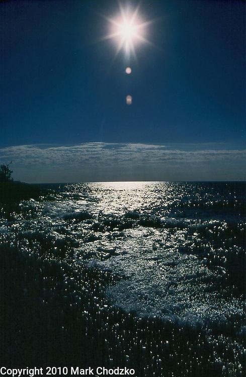 Sun sparkles on Lake Superior.