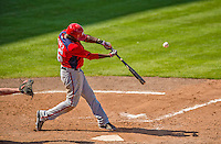 23 February 2013: Washington Nationals outfielder Eury Perez at bat during Spring Training action against the New York Mets at Tradition Field in Port St. Lucie, Florida. The Mets defeated the Nationals 5-3 in their Grapefruit League Opening Day game. Mandatory Credit: Ed Wolfstein Photo *** RAW (NEF) Image File Available ***