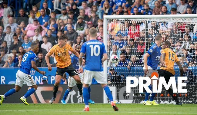 Leander Dendoncker of Wolves scores a goal which is disallowed during the Premier League match between Leicester City and Wolverhampton Wanderers at the King Power Stadium, Leicester, England on 10 August 2019. Photo by Andy Rowland.