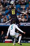 Fernando Llorente of Tottenham Hotspur FC (top) fights for the ball with Raphael Varane of Real Madrid (bottom) during the UEFA Champions League 2017-18 match between Real Madrid and Tottenham Hotspur FC at Estadio Santiago Bernabeu on 17 October 2017 in Madrid, Spain. Photo by Diego Gonzalez / Power Sport Images