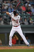 Shortstop C.J. Chatham (10) of the Greenville Drive bats in a game against the Rome Braves on Thursday, April 12, 2018, at Fluor Field at the West End in Greenville, South Carolina. Greenville won, 14-4. (Tom Priddy/Four Seam Images)