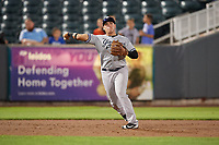 Staten Island Yankees third baseman Andres Chaparro (26) throws to first base during a game against the Aberdeen IronBirds on August 23, 2018 at Leidos Field at Ripken Stadium in Aberdeen, Maryland.  Aberdeen defeated Staten Island 6-2.  (Mike Janes/Four Seam Images)
