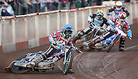 Heat 2: Robert Mear (blue), Richard Lawson (red), Richie Worrall (yellow) and Sebastian Alden (white) - Lakeside Hammers vs Kings Lynn Stars, Elite League Speedway at the Arena Essex Raceway, Pufleet - 23/04/13 - MANDATORY CREDIT: Rob Newell/TGSPHOTO - Self billing applies where appropriate - 0845 094 6026 - contact@tgsphoto.co.uk - NO UNPAID USE.