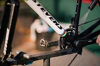Wout van Aert's (BEL/Cibel-Cebon) sparkling bling-bike washed after the course recon<br /> <br /> Men Elite + U23 race<br /> Superprestige Ruddervoorde 2018 (BEL)