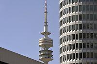 - Germany, Munich, the Olympia Tower and skyscraper headquarters of the BMW car factory ....- Germania, Monaco di Baviera, la Olympia Tower e il grattacielo sede centrale della fabbrica di automobili BMW