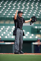 Umpire Emma Charlesworth-Seiler signals a catch during an Instructional League game between the Atlanta Braves and Baltimore Orioles on September 25, 2017 at the Ed Smith Stadium in Sarasota, Florida.  (Mike Janes/Four Seam Images)