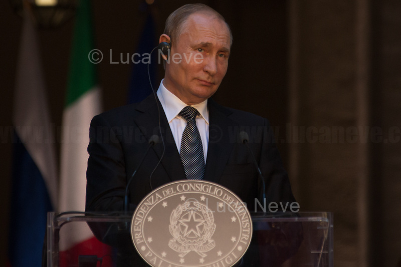 Vladimir Putin (President of the Russian Federation).<br /> <br /> Rome, 04/07/2019. Today, the four-time President of the Russian Federation, Vladimir Putin, visited Palazzo Chigi (Official Residence of the Italian Prime Minister and official meeting place of the Council of the Ministers) where he had a private meeting and a press conference with the Italian Prime Minister, Giuseppe Conte. During his visit to Italy, President Putin met Pope Francis, the President of the Italian Republic, Sergio Mattarella, and his old friend and Italian politician, Silvio Berlusconi.   <br /> <br /> Footnotes and Links:<br /> For a Video of the Press Conference please click here (Source, Palazzo Chigi on Youtube): https://youtu.be/4Bdssi0L9PI