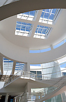Richard Meier: The Getty Center Entrance Hall of Entrance Pavilion. Looking up.  Photo '99.