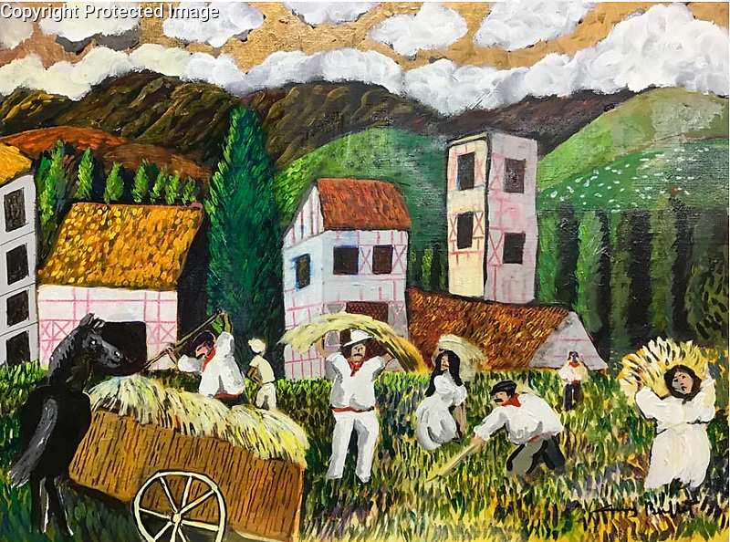 Harvest in the Basque Country<br /> 18x24 Acrylic on Canvas Original Painting<br /> $9,500