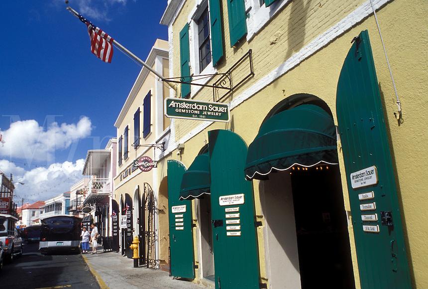 Charlotte Amalie, St. Thomas, U.S. Virgin Islands, Caribbean, USVI, Shops along Main Street in downtown Charlotte Amalie on Saint Thomas Island.