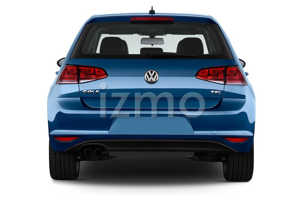 Straight rear view of a 2015 Volkswagen Golf SEL 4-door TSI  Auto PZEV 4 Door Hatchback Rear View  stock images