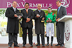 09-11-11 : on the podium from left to right : His Highness Karim Aga Khan the owner, Qatar's representant in Paris, trainer Alain de Royer Dupré, jockey Christophe-Patrice Lemaire, Henri de Pracomtal vice-president of France Galop.