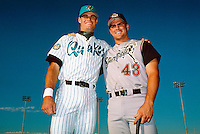 Ben Davis of the Rancho Cucamonga Quakes and his brother Glenn Davis of the San Bernardino Stampede during a game at The Epicenter in Rancho Cucamonga, California during the 1997 season.(Larry Goren/Four Seam Images)