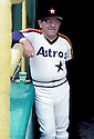 Houston Astros Yogi Berra (5) at a game at the Houston Astrodome in Houston, Texas.  Yogi Berra coached the Houston Astros from 1986-1989. Yogi Berra was inducted to the Baseball Hall of Fame in 1972.