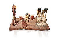 Ancient Egyptian wooden model of bread making, Middle Kingdom, 12th Dynasty, (1939-1875 BC), Asyut., Tomb of Minhotep Egyptian Museum, Turin. Cat 8789. white background. <br /> <br /> Wooden tomb models were an Egyptian funerary custom throughout the Middle Kingdom in which wooden figurines and sets were constructed to be placed in the tombs of Egyptian royalty. These wooden models represented the work of servants, farmers, other skilled craftsman, armies, and religious rituals