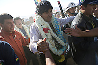 Cochabamba, Bolivia<br /> A picture dated August 2, 2007 shows Bolivian Presidente Evo Morales walking into the crowd during the Day of the Native Bolivian and the Agrarian Reform in a town close to the city of Cochabamba.