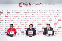 Sevilla Sergio Escudero and coach Vincenzo Montella during press conference the day before King's Cup Finals match between Sevilla FC and FC Barcelona at Wanda Metropolitano in Madrid, Spain. April 20, 2018. (ALTERPHOTOS/Borja B.Hojas) /NortePhoto.com