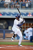 Charlotte Stone Crabs right fielder Jesus Sanchez (4) at bat during a game against the Palm Beach Cardinals on April 20, 2018 at Charlotte Sports Park in Port Charlotte, Florida.  Charlotte defeated Palm Beach 4-3.  (Mike Janes/Four Seam Images)