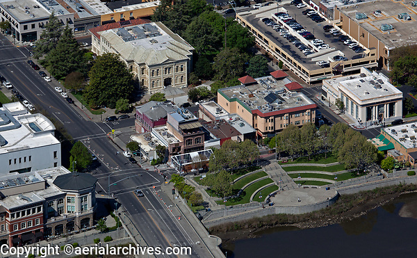 aerial photograph of the Veterans Memorial Park,  Napa Superior Court, Third Street Bridge, Napa, California