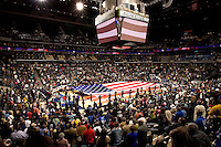 A large America Flag is presented prior to a game during the CIAA Tournament  in Charlotte, NC.
