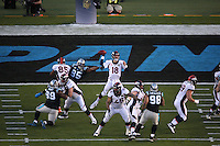 SANTA CLARA, CA - FEBRUARY 7:  Peyton Manning of the Denver Broncos throws a pass against the Carolina Panthers during Super Bowl 50 at Levi's Stadium in Santa Clara, California on February 7, 2016. (Photo by Brad Mangin)