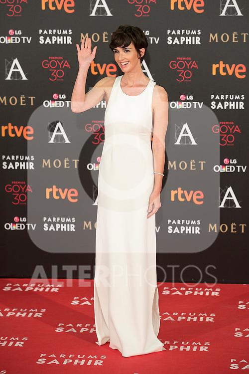 Paz Vega attends 30th Goya Awards red carpet in Madrid, Spain. February 06, 2016. (ALTERPHOTOS/Victor Blanco)