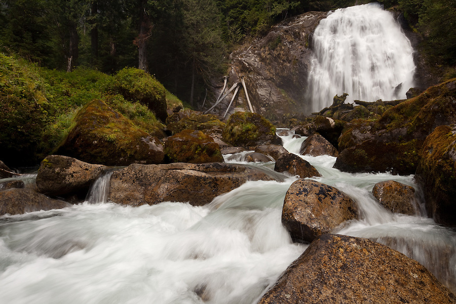 Chatterbox Falls, a remote waterfall at the end of Princess Louisa inlet along the shore of Britsh Columbia.