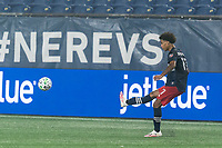 FOXBOROUGH, MA - SEPTEMBER 02: Tajon Buchanan #17 of New England Revolution passes the ball during a game between New York City FC and New England Revolution at Gillette Stadium on September 02, 2020 in Foxborough, Massachusetts.