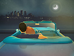 Illustration of couple looking at city view in moonlight