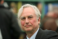 Saturday 24 May 2014, Hay on Wye UK<br /> Pictured: Richard Dawkins signing copies of his books.<br /> Re: The Telegraph Hay Festival, Hay on Wye, Powys, Wales UK.