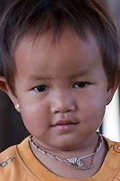 Myanmar, Burma.  Little Burmese Girl, Intha Ethnic Group, Inle Lake, Shan State.