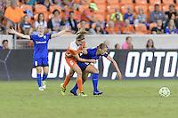 Houston, TX - Sunday Sept. 25, 2016: Morgan Brian, Merritt Mathias during a regular season National Women's Soccer League (NWSL) match between the Houston Dash and the Seattle Reign FC at BBVA Compass Stadium.