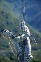 Europe/Italie/Calabre/Scilla : Statue représentant un pêcheur et un espadon