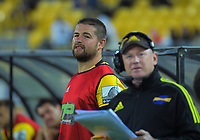 Hurricanes reserve hooker Dane Coles watches a replay of Tyrel Lomax's shoulder charge, which resulted in a red card during the Super Rugby match between the Hurricanes and Blues at Sky Stadium in Wellington, New Zealand on Saturday, 7 March 2020. Photo: Dave Lintott / lintottphoto.co.nz