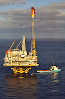 North Sea oil production platform off the Scottish coast.