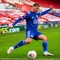 9th January 2021; Bet365 Stadium, Stoke, Staffordshire, England; English FA Cup Football, Carabao Cup, Stoke City versus Leicester City; Marc Albrighton of Leicester City crosses the ball