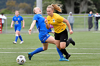 Charlotte Wilford Carroll of Capital competes for the ball with THannah Mackay-Wright of Southern during the Handa Women's Premiership - Capital Football v Southern United at Petone Memorial Park, Wellington on Saturday 7 November 2020.<br /> Copyright photo: Masanori Udagawa /  www.photosport.nz