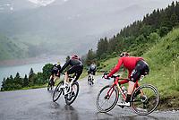 Harry Sweeny (AUS/Lotto Soudal) descending the Col du Pré (HC/1748m) towards the Barrage de Roselend in, yet again, grim conditions.<br /> <br /> Stage 9 from Cluses to Tignes (145km)<br /> 108th Tour de France 2021 (2.UWT)<br /> <br /> ©kramon