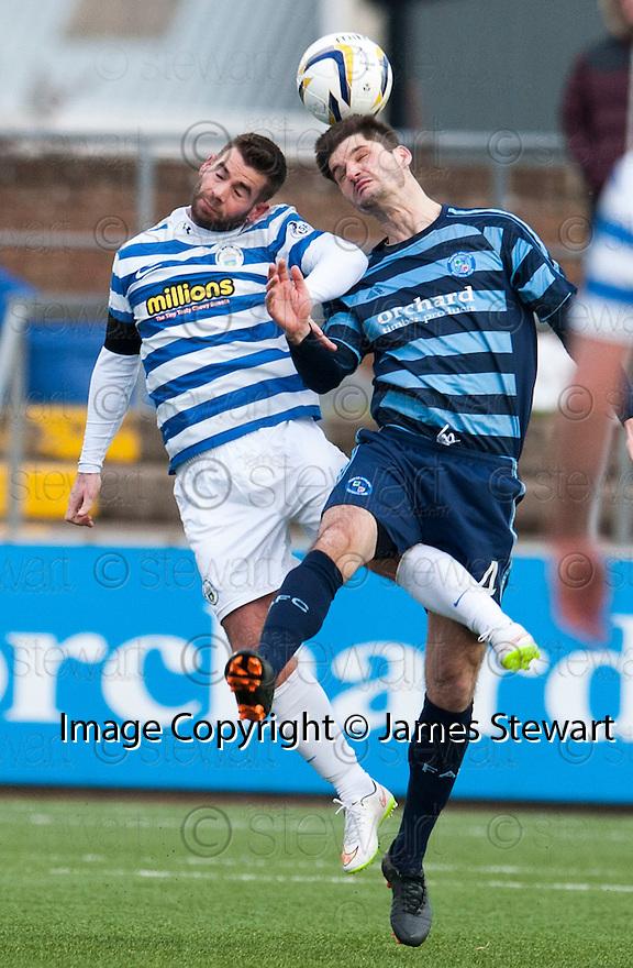 Morton's Peter MacDonald and Forfar's Stuart Malcolm challenge for the ball.