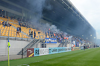 20150514 - BEVEREN , BELGIUM : smoky stands pictured during the final of Belgian cup, a soccer women game between SK Lierse Dames and Club Brugge Vrouwen , in stadion Freethiel Beveren , Thursday 14 th May 2015 . PHOTO DAVID CATRY