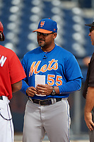 GCL Mets Jose Carreno (55) during the lineup exchange before the first game of a doubleheader against the GCL Nationals on July 22, 2017 at The Ballpark of the Palm Beaches in Palm Beach, Florida.  GCL Mets defeated the GCL Nationals 1-0 in a seven inning game that originally started on July 17th.  (Mike Janes/Four Seam Images)