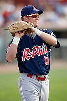 August 1, 2009:  Outfielder Jeremy Slayden of the Reading Phillies during a game at Jerry Uht Park in Erie, PA.  Reading is the Eastern League Double-A affiliate of the Philadelphia Phillies.  Photo By Mike Janes/Four Seam Images
