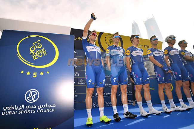 Quick-Step Floors team at sign on before the start of Stage 2 The  Ras Al Khaimah Stage of the Dubai Tour 2018 the Dubai Tour's 5th edition, running 190km from Skydive Dubai to Ras Al Khaimah, Dubai, United Arab Emirates. 7th February 2018.<br /> Picture: LaPresse/Massimo Paolone | Cyclefile<br /> <br /> <br /> All photos usage must carry mandatory copyright credit (© Cyclefile | LaPresse/Massimo Paolone)