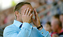 19/08/2006        Copyright Pic: James Stewart.File Name : sct_jspa10_falkirk_v_kilmarnock.FALKIRK MANAGER JOHN HUGHES CAN'T BEAR TO WATCH AS HIS SIDE LOSE TO KILMARNOCK.........Payments to :.James Stewart Photo Agency 19 Carronlea Drive, Falkirk. FK2 8DN      Vat Reg No. 607 6932 25.Office     : +44 (0)1324 570906     .Mobile   : +44 (0)7721 416997.Fax         : +44 (0)1324 570906.E-mail  :  jim@jspa.co.uk.If you require further information then contact Jim Stewart on any of the numbers above.........
