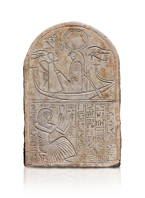 Ancient Egyptian stele dedicated to Re-Harakhty by draftsman Pay, limestone, New Kingdom, 19th Dynasty, (1292-1190 BC), Deir el-Medina, Schiaprelli cat 6144. Egyptian Museum, Turin. white background,