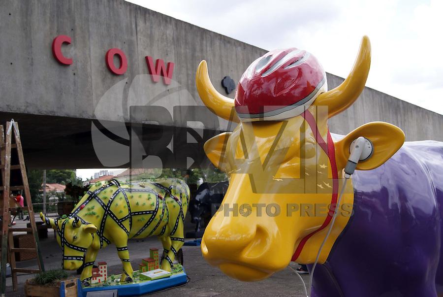 SÃO PAULO,20 DE JANEIRO DE 2010 - COW PARADE - Preparação para um dos maiores eventos de rua do mundo a Cow Parade que conta com 76 vacas espalhadas pela cidade de São Paulo.Na foto as vacas estão reunidas no MUBE para um coquetel de abertura que irá ocorrer essa noite. A Exposição nas ruas terá inicio dia 22 de janeiro. FOTO: WILLIAM VOLCOV / BRAZIL PHOTO PRESS